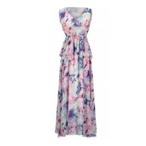 Printed Sleeveless Beach Wear Chiffon Full Maxi Dress
