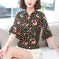 Printed Speaker Sleeve Spring Fashion Women Blouse Top - Black
