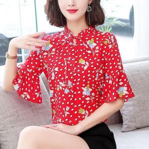 Printed Speaker Sleeve Spring Fashion Women Blouse Top - Red