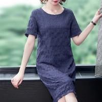 Round Neck Crushed Texture Short Sleeves Mini Dress