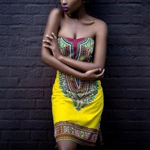 Bohemian Printed Bandeau Neck Mini Dress - Yellow