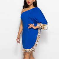 Tiger Prints Body Fitted Slash Neck Mini Dress - Blue