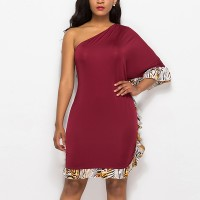 Tiger Prints Body Fitted Slash Neck Mini Dress - Red