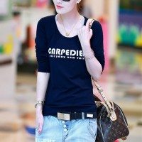 Alphabetic Printed Round Neck Full Sleeves Top - Black And White