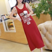 Alphabetic Printed Sleeves Midi Dress - Red