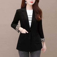 Leopard Contrast Sleeve Suit Neck Winter Wear Coat - Black