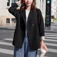 Contrast Sleeved Suit Neck Winter Wear Coat - Black