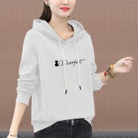 Alphabet Printed Summer Hoodie Long Sleeve Top - White