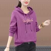 Alphabet Printed Summer Hoodie Long Sleeve Top - Purple Gold