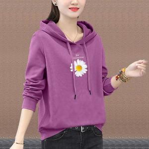 Floral Printed Summer Hoodie Long Sleeve Top - Grape Purple
