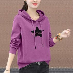 Star Printed Summer Hoodie Long Sleeve Top - Black Purple