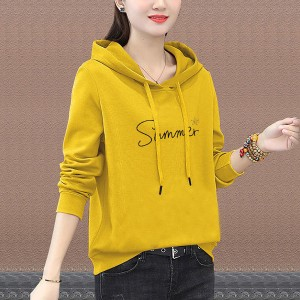 Alphabet Printed Summer Hoodie Long Sleeve Top - Canary Yellow