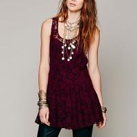 Lace Texutred Mini A-Line Elegant Dress - Wine Red