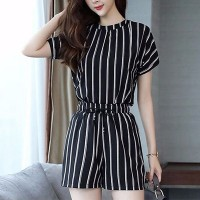 O Neck Striped Two Pieces Suit - Black