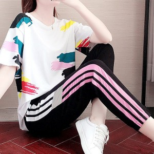 Paint Art Printed Narrow Bottom Two Pieces Sports Wear Suit - Multicolor