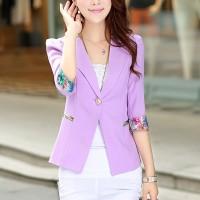 Suit Neck Half Sleeved Formal Wear Coat - Purple