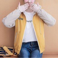 Contrast Zipper Closure Hoodie Neck Jacket - Yellow