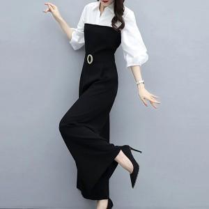 Shirt Collar Lantern Quarter Sleeves Contrast Romper Dress - Black and White