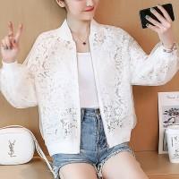 Lace See Through Elegant Women Fashion Jacket - White