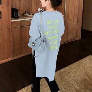 Alphabet Printed Loose Women Fashion Long Tops - Blue