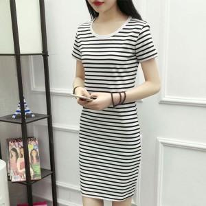 Round Neck Short Sleeves Stripes Print Mini Dress - White