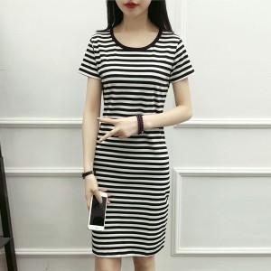 Round Neck Short Sleeves Stripes Print Mini Dress - Black and White