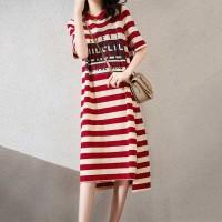 Round Neck Stripes Print Short Sleeves Midi Dress - Red