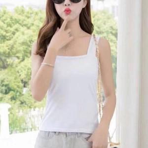 Sleeveless Strap Shoulder Women Fashion Top - White