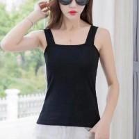 Sleeveless Strap Shoulder Women Fashion Top - Black