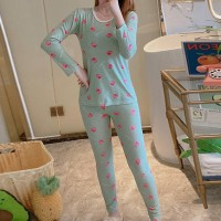 Printed Round Neck Full Sleeved Sleepwear Pajama Two Piece Set - Green