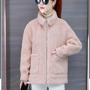 Furry Zipper Closure Full Sleeves Loose Wear Jacket - Pink