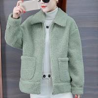 Furry Zipper Closure Full Sleeves Loose Wear Jacket - Green