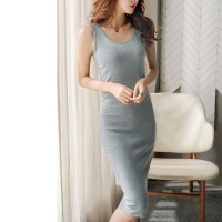 Body Fitted Solid Color Summer Midi Dress - Gray