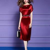 Short Sleeves Satin Waist Band Party Wear Midi Dress - Red