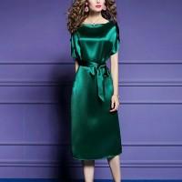Short Sleeves Satin Waist Band Party Wear Midi Dress - Green