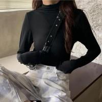 Full Sleeved Slim Fit Solid Wear Top - Black