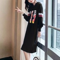 Graphical Printed Hoodie Full Sleeves Mini Dress - Black