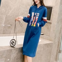 Graphical Printed Hoodie Full Sleeves Mini Dress - Blue