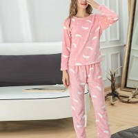 Pineapple Printed Round Neck Full Sleeves Pajama Nightwear Suit - Pink