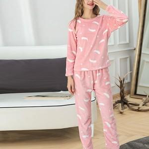Pineapple Printed Round Neck Full Sleeves Pajama Nightwear Suit - Pink