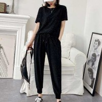 Narrow Bottom Casual Wear Short Sleeves Top Two Pieces Suit - Black