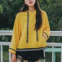 Quarter Sleeved Loose Winter Hoodie Top - Yellow