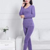 Textured Floral Slim Fit Full Sleeves Bodyfitted Nightwear Suit - Purple