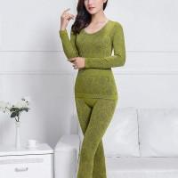 Textured Floral Slim Fit Full Sleeves Bodyfitted Nightwear Suit - Green