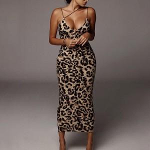 Leopard Texture Printed Bodyfitted Bodycon Women Sexy Wear Dress