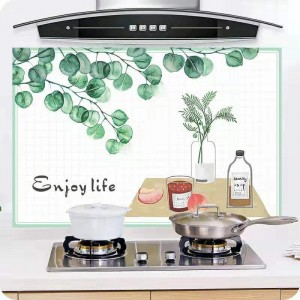 Leaves Oil Protective Stove Wall Sheet - Green