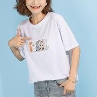 Cats Printed Round Neck Half Sleeve T-Shirt - White