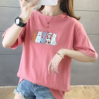 Cats Printed Round Neck Half Sleeve T-Shirt - Pink