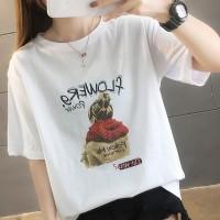 Girl Printed Round Neck Half Sleeve T-Shirt - White