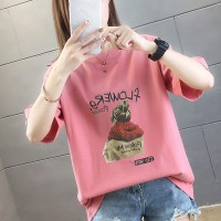 Girl Printed Round Neck Half Sleeve T-Shirt - Pink